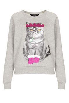 Sweat-shirt de Noël à motif chat Petite