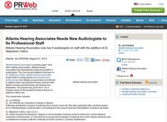 Atlanta Hearing Associates is growing again. Now with 4 Atlanta area location, Atlanta Hearing Associates has expanded its professional staff to 6 audiologists. The most recent addition to the team is Dr. Stephanie Collins. http://www.prweb.com/releases/hearing-care/atlanta/prweb12111742.htm