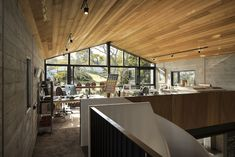 One of the mezzanine areas serves as a workspace and is quite cozy and open
