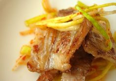 kimchi + kyche_dish: samgyeobsal with pajeoli aka grilled pork belly with korean leek salad