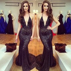 michaelcostello Nia Sanchez looks stunning in our black sequin @mtcostello plunge neck gown . This dress is so sexy and has open back . Email Valeriecostello8@gmail.com @valeriecostello17