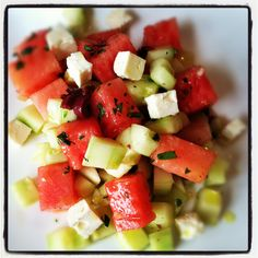 Watermelon, Cucumber & Feta Salad | Andrea Beaman  This is the best salad ever.
