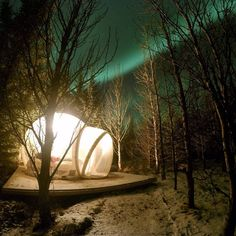 """Buubble, the 5 million star hotel, offers its guest a truly unique experience. The hotel offers guests the opportunity to sleep in a clear """"bubble"""" room allowing them to view the night sky in the middle of the Icelandic woods. Northern Lights Scotland, Northern Lights Hotel, Northern Lights Viewing, Million Stars, Wanderlust, Winter Images, Beautiful Sites, Iceland Travel, Dream Vacations"""