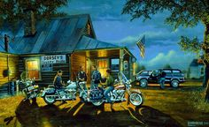 "&Let the Good Times Roll"" is an early 1998 limited edition motorcycle print of a current Harley-Davidson by Dave Barnhouse. Barnhouse is no longer painting Harley-Davidson bikes. Motorcycle Art, Bike Art, Chopper Motorcycle, Harley Davidson Kunst, David Mann Art, Motorcycle Wallpaper, Virtual Art, Country Art, Wildlife Art"