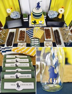 A Ralph Lauren Polo Club Birthday with a polo player topped cake, polo shirt banner, homemade horse stable, trophy cup favors + daisies in a grass table runner