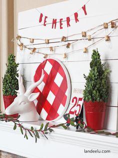 Landee Christmas Buffalo Check Mantel Ideas