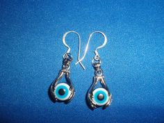 OOAK White Gold Hand Charms with Evil Eye Beads by DaKsJewelry