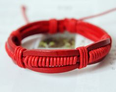 Fashion Adjustable Multilayer red real Leather cuff and Cotton cord Wrap Bracelet M-28