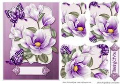 Card Front Shaped Magnolias Purples on Craftsuprint designed by Carol James - A very versatile topper. Some pyramage pieces for that 3d effect. 2 Sentiments tags - 1 with 'Thinking Of You' and the other a blank tag for your own sentiment. - Now available for download!