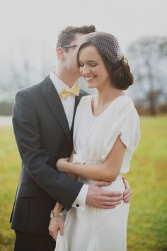 birdcage veil and bowtie