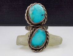 "LONG TURQUOISE STERLING SILVER RING NATIVE AMERICAN ROPED DOUBLE STONE 1 3/8"" #Unknown"