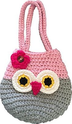 Happy Owl Handbag, Perfect Gift For Little, Young & Teen Girls, Cute Pink & Grey Purse, Handmade Crochet, Soft Yarn, Wristlet For All Ages, Dress-Up & Play Or Use As Cell Phone Case Holder & Pouch, http://www.amazon.com/dp/B01HC7GVXI/ref=cm_sw_r_pi_awdm_x_Z5IbybHGD5MAG