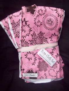 Pink and Chocolate Brown Retro Floral 3 Pc Burp Cloth Set Baby Shower Gift Set $13.00