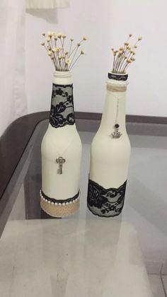 garrafas de vidro decoradas - artesanato, kit ou individual