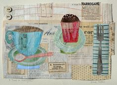A Treat In Harrogate by Elaine Hughes - hand and machine stitched paper collages incorporating drawing, textiles and vintage ephemera #Paper/Textiles