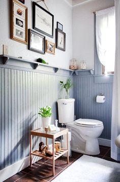 Wainscoting In Small Bathroom. 20 Wainscoting In Small Bathroom. 3 Tips for Small Bathrooms Bathroom Colors, Cottage Bathroom, Bathroom Makeover, Small Bathroom, Beadboard Bathroom, Beadboard Wainscoting, Bathroom Renovation Diy, Bathroom Design, Blue Shower Tile