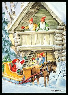 Santa in Sleigh with Elves, Erik Forsman Vintage Christmas Cards, Christmas Pictures, Vintage Cards, Scandinavian Art, Scandinavian Christmas, Christmas Gnome, Christmas Mood, Norwegian Christmas, Kobold