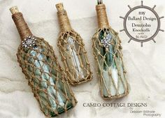 Chic nautical bottle recycling ideas. Featured on CC: http://www.completely-coastal.com/2014/11/decorating-ideas-with-bottles.html