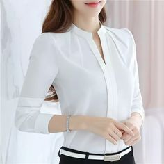 Cheap chiffon blouse, Buy Quality shirt blouse directly from China blouses tops Suppliers: Women Blouses Long Sleeve Chiffon Blouse Shirt Women 2019 Blusa Feminina Tops Fashion Chemise Femme Shirts White Pink Blusas Elegant Woman, Top Fashion, Fashion Women, Fashion Casual, Fashion Pants, Top Mode, Casual Work Wear, Dress Casual, Shirt Bluse