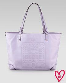 V18W0 Gucci Exclusive BG Anniversary Leather E/W Tote Bag, Lilac