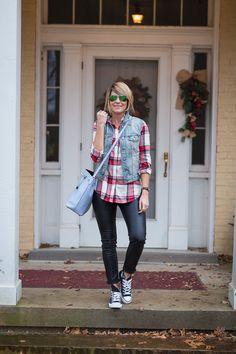 Leather Leggings // Sneaks // Plaid Shirt // Denim Vest