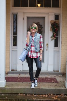 Leather Leggings // Sneaks // Plaid Shirt // Denim Vest