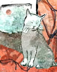 cat print abstract background by Holly McGee (LollipopLake)