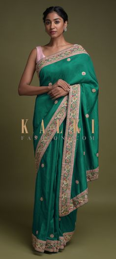Buy Online from the link below. We ship worldwide (Free Shipping over US$100)  Click Anywhere to Tag Cabana-Green-Saree-In-Cotton-Silk-With-Thread-Embroidered-Floral-Border-And-Buttis-Online-Kalki-Fashion Bridal Sarees, Wedding Sarees, Cotton Saree Blouse, Green Saree, Floral Border, Cotton Silk, Cabana, Lehenga, Sari