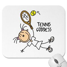Stick Figure Tennis Goddess Mousepad by stickpeople