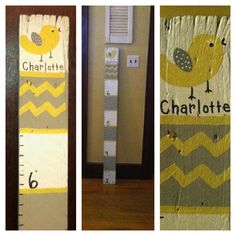 Growth Chart made from barn wood. Gray and yellow with bird|chevron|baby name.