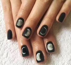 Short Fake Nails Black Moon Lunar Eclipse Square Artificial Nail Tips with Glue Sticker Faux Ongle for Office Home Party, acrylic nail,nails Nail Art Designs, White Nail Designs, Nails Design, Black And White Nail Art, White Nails, Black Nails, Matte Black, Black White, Glue On Nails