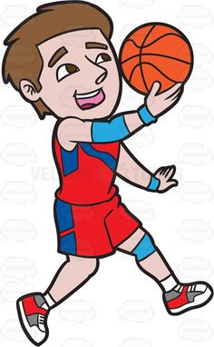 A Male Basketball Player Jumping To Do A Lay Up Shot #cartoon #clipart #vector #vectortoons #stockimage #stockart #art