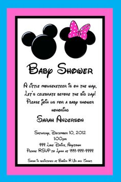 Mickey and Minnie Mouse Inspired Baby Shower Invitation -  Great for Twins or Unknown Gender - You Print