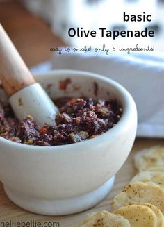 An easy to make recipe for olive tapenade. So fast! appetizer, olive tapenade, easy appetizer