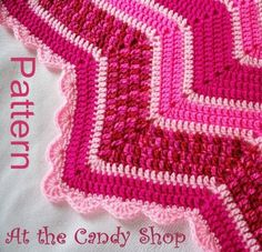 PDF Pattern Crocheted 12-Pointed Star Blanket At the Candy Shop Pink and Raspberry Design