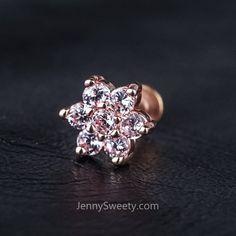 Flower Zircon Cartilage Earrings Helix Piercing Tragus Earrings Tragus Jewelry Labret #labretpiercing
