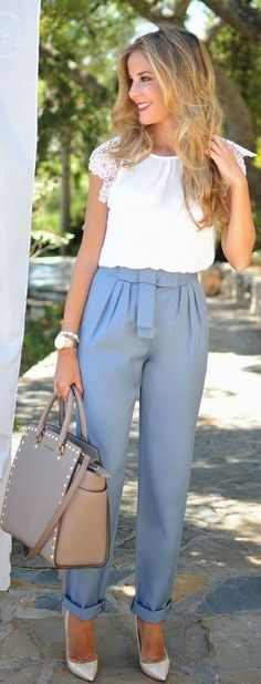Summer Street Style. White blouse gray pants handbag. women apparel @roressclothes closet ideas style ladies outfit fashion clothing