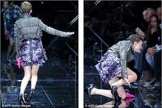 models falling on the runway   Tumblr