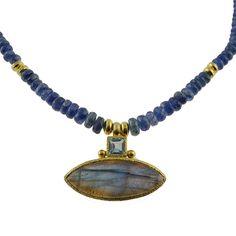 Vasant Designs kyanite, blue topaz and labradorite necklace Blue Topaz, Labradorite, Gallery, Design, Roof Rack