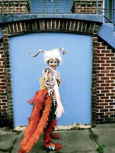 """Here's one last #MardiGras costume idea from the Tchoup team: our crafty sewer, Sadie, as """"Exquisite Corpse"""" (part goat, snake, fish, and bird). Do you have your Fat Tuesday outfit prepared?! #DIY #Handmade #Carnival #NOLA"""