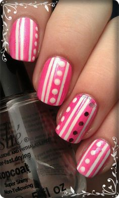 Stripes for Valentines #nail #nails #nailart