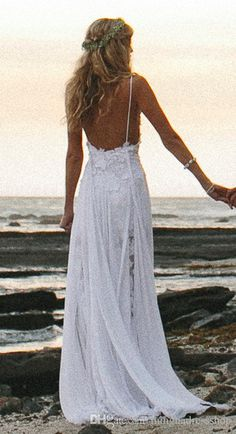 2014 Spaghetti Strap Backless Beach Bridal Gowns Split Front White Lace Ruffled Chiffon Flowing Garden A-Line Beach Wedding Dresses Cheap from Mingnadressshop,$94.25 | DHgate.com