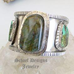 Schaef Designs labradorite, turquoise & sterling silver heavy cuff bracelet | New Mexico