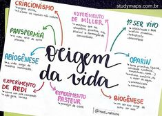 MAPA MENTAL SOBRE ORIGEM DA VIDA - STUDY MAPS Chemistry Classroom, Mental Map, Study Cards, Biology Lessons, Science Notes, Study Organization, Bullet Journal School, Agenda Planner, School Subjects
