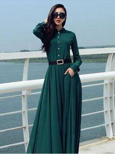 Women Casual Buttons Long Sleeve Elegant Maxi Chiffon Dress