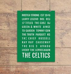 Boston Celtics Print - C's Boston Garden - Subway Poster, Boyfriend Gift, Husband Gift, Wall Art, Train Scroll, Bus Scroll, Word Art, Typography. Show your love of the Boston Celtics with this Celtics - Subway Sign which looks great in your dorm, apartment, man cave or any other room in your house. This Subway Poster is a great conversation piece and allows you to celebrate your favorite school through a vintage typographic design. The Celtics Subway Sign works well as stand-alone wall…