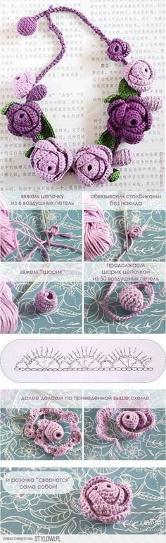 szydełkowe róże, schemat z opisem (ros.) naszyjnik na Stylowi. Crochet Motifs, Freeform Crochet, Crochet Art, Crochet Gifts, Crochet Stitches, Hand Crochet, Crochet Puff Flower, Crochet Flower Patterns, Crochet Flowers