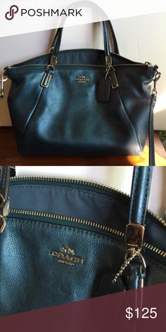 "Coach Kelsey: Metallic Blue This is a pre-owned Coach Kelsey small bag.  I bought it used, and had to air it out a bit as it smelled like the other owner's perfume. It now comes from a smoke-free home. Great condition otherwise.  • Metallic navy blue color with silver tone hardware  • Zippered pocket and two open slip pockets inside • Fully zippered top closure with Coach's removable leather hang tag  • Removable shoulder/cross-body strap with 21"" drop  • 10"" (L) at bottom tapering to 13""…"