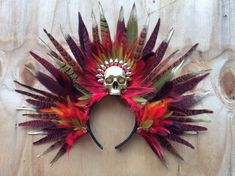 Excited to share this item from my shop: Voodoo Flame Feather Headdress Voodoo Costume, Voodoo Halloween, Halloween Costumes, Feather Mask, Feather Headdress, Show Makeup, African Goddess, Alice Band, Art Of Glass