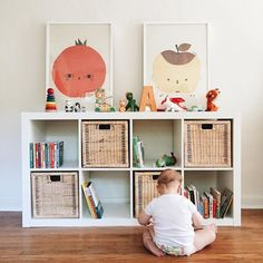 modern minimalistic kid room decor, toy storage in playroom decor or nursery decor, girl bedroom decor with toy cubbie organization and fun prints Playroom Design, Playroom Decor, Kid Decor, Ikea Kids Playroom, Playroom Ideas, Room Kids, Bedroom Decor, Nursery Decor, Uni Room